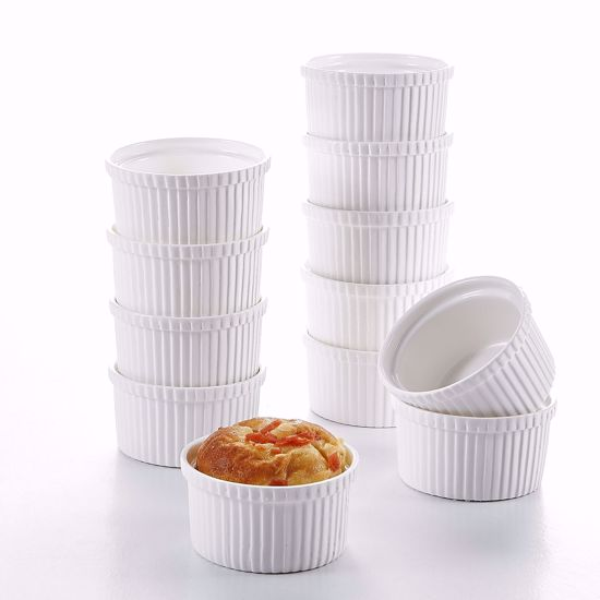 "Picture of Malacasa 12-Piece Ivory White Porcelain 4.3"" (10.5oz) Ramekins Souffle Dishes Dipping Bowls Baking Dish Set"