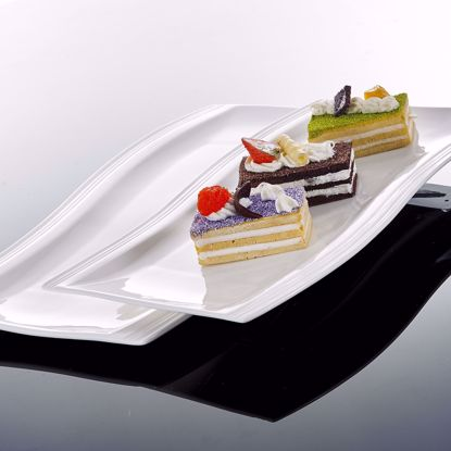 Picture of Malacasa 2 Piece Series Flora, Porcelain Large Serving Platters Tray with Rectangular Plate, Ivory White