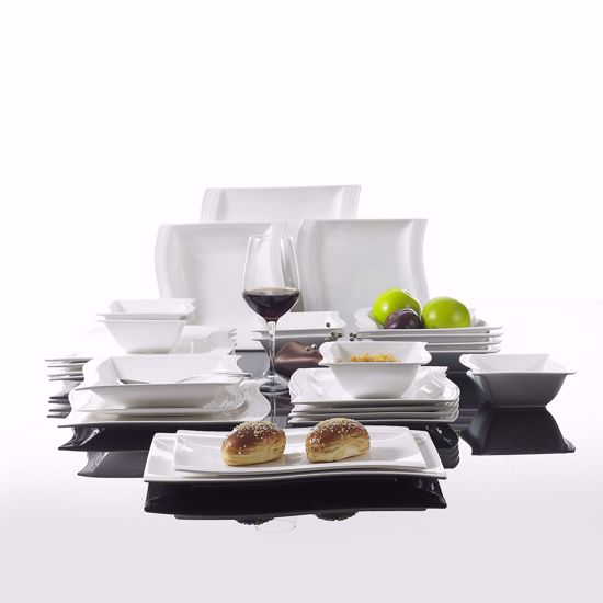 Malacasa Porcelain Products Malacasa Series Flora 26 Piece Ivory White Porcelain Dinnerware Combi Set With 6 Cereal Bowls Dessert Plates Soup Plates Dinner Plates And 2 Rectangular Plates Service For 6