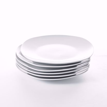 Picture of MALACASA 6 Piece 7.5 Inch Porcelain Plate Set Dessert Plates Snack Dishes, Grey White, Series Elisa