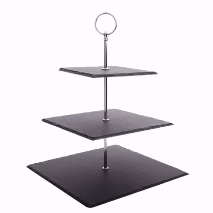 """Picture of Malacasa Series Sweet Time, 3 Tier Natural Slate Cake Stand Square Stone Tea Party Server Serving Set with Silver Carry Handle, 10"""" W"""