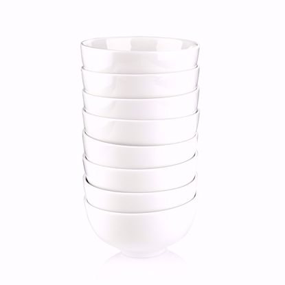 "Picture of Malacasa, Series Regular, 8-Piece 4.5"" White Ceramic Rice Bowl Set Porcelain Cereal Bowls (11.6x11.6x6cm)"