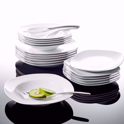 Picture of Malacasa, Series Elisa, 18-Piece Ivory White Porcelain Dinner Set with 6-Piece Dessert Plates 6-Piece Soup Plates and 6-Piece Dinner Plates Service Set for 6