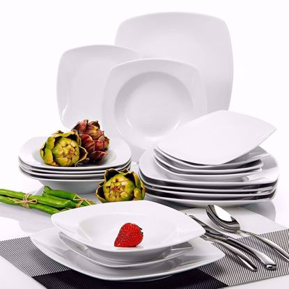 Picture of Malacasa, Series Julia, 18-Piece Ivory White Porcelain Dinner Set with 6-Piece Dessert Plates 6-Piece Soup Plates and 6-Piece Dinner Plates