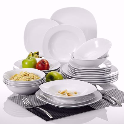 """Picture of Malacasa, Series Elisa, 24-Piece Cream White Porcelain Dinner Sets with 6-Piece 6.7"""" Cereal Bowls, 6-Piece 7.5"""" Pasta Plates, 6-Piece 8.5"""" Deep Soup Plates and 6-Piece 9.75"""" Dinner Plates Combination Set"""
