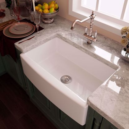 """Picture of 33"""" White Ceramic Double Basin Apron Farmhouse Kitchen Sink with Strainer & Grid"""