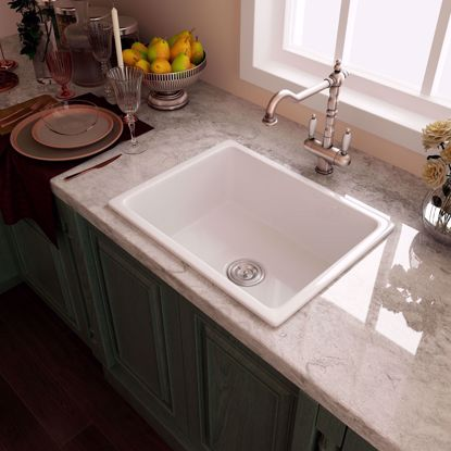 """Picture of 24"""" White Ceramic Single Bowl Drop-in Kitchen Sink with Strainer Center Drain"""
