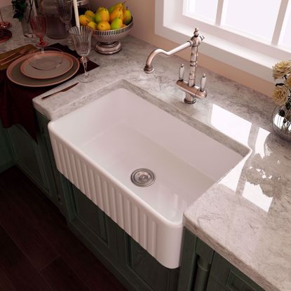 """Picture of 30"""" Eridanus Ceramic Farmhouse Apron Single Basin Kitchen Sink with Strainer"""